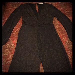 Black & Gold Flare Pants Jumpsuit